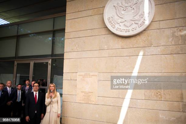 White House senior advisor Ivanka Trump and US Treasury Secretary Steven Mnuchin arrive to the opening of the US embassy in Jerusalem on May 14 2018...