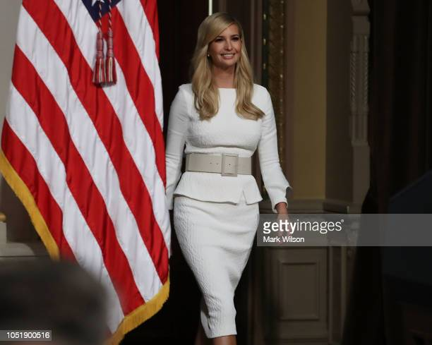 White House Senior Advisor Ivanka Trump walks into the annual meeting of President's Interagency Task Force to Monitor and Combat Trafficking in...