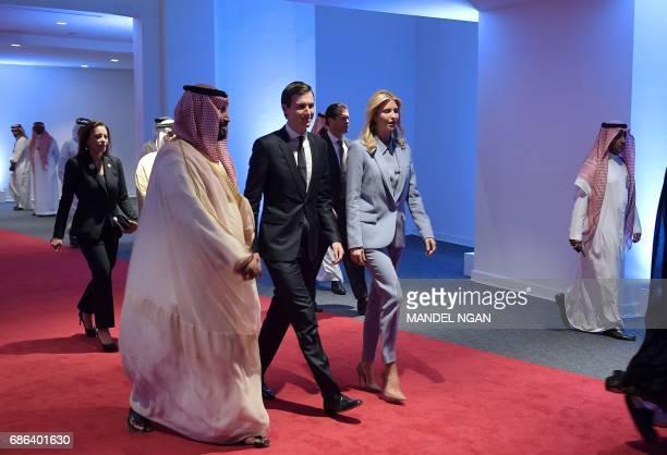 CORRECTION White House senior advisor Jared Kushner and Ivanka Trump arrive at the Global Center for Combating Extremist Ideology shortly before its...