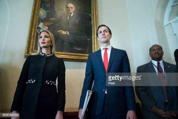 White House Senior Advisor Jared Kushner and Ivanka Trump attend a meeting held by US President Donald J. Trump with members of his Cabinet, in the...