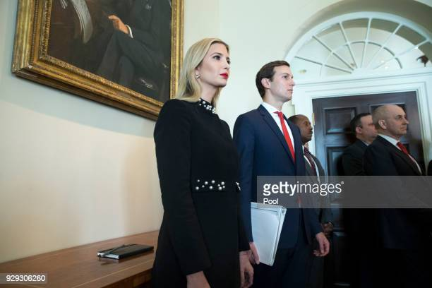 White House Senior Advisor Jared Kushner and Ivanka Trump attend a meeting held by US President Donald J Trump with members of his Cabinet in the...
