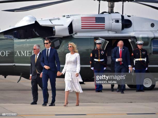 White House senior advisor Jared Kushner and Ivanka Trump make their way to board Air Force One before departing from Ben Gurion International...