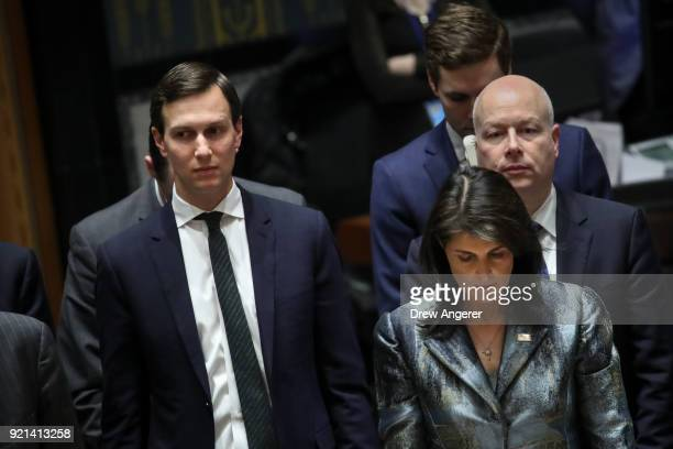 White House Senior Advisor Jared Kushner and US ambassador to the United Nations Nikki Haley arrive for a United Nations Security Council concerning...