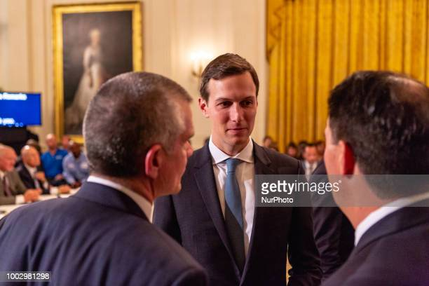 White House Senior Advisor Jared Kushner attends US President Donald Trumps 'The Pledge To America's Workers' event in the East Room of the White...