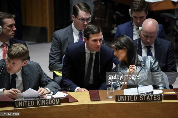 White House Senior Advisor Jared Kushner confers with US ambassador to the United Nations Nikki Haley during a United Nations Security Council...