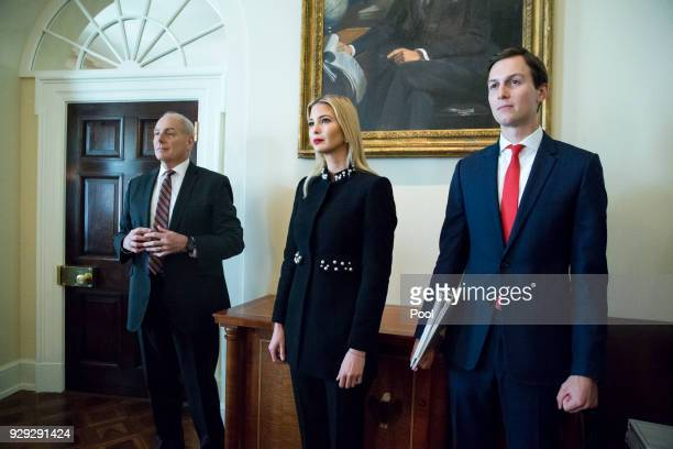 White House Senior Advisor Jared Kushner First daughter Ivanka Trump and White House Chief of Staff John Kelly attend a meeting held by US President...