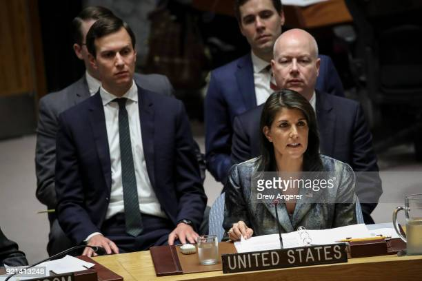White House Senior Advisor Jared Kushner looks on as US ambassador to the United Nations Nikki Haley speaks during a United Nations Security Council...