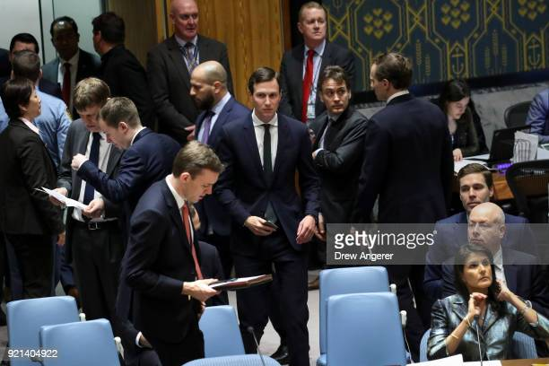 White House Senior Advisor Jared Kushner prepares to take his seat before the start of a United Nations Security Council concerning meeting...