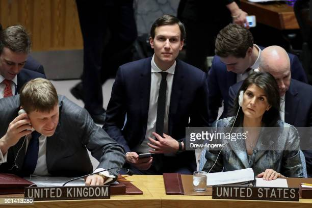 White House Senior Advisor Jared Kushner takes his seat as US ambassador to the United Nations Nikki Haley looks on before the start of a United...
