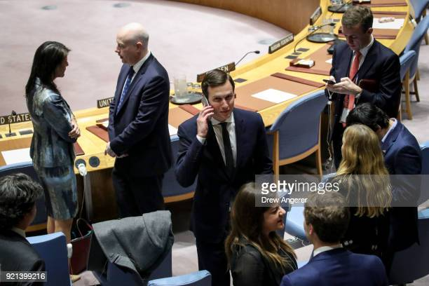 White House Senior Advisor Jared Kushner talks on his cell phone before the start of a United Nations Security Council concerning meeting concerning...