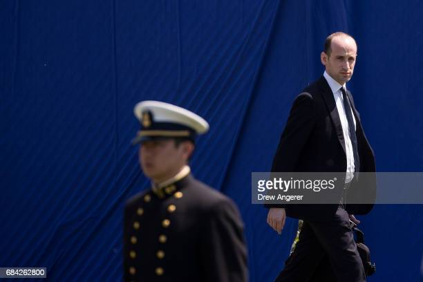 White House senior advisor Stephen Miller arrives at the commencement ceremony for the US Coast Guard Academy May 17 2017 in New London Connecticut...