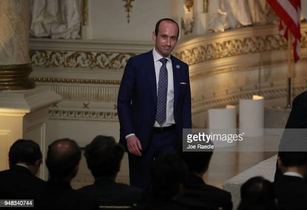 White House Senior Advisor Stephen Miller arrives before the start of a news conference by President Donald Trump and Japanese Prime Minister Shinzo...