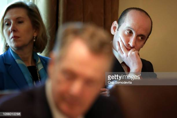 White House Senior Advisor Stephen Miller attends a cabinet meeting in the Cabinet Room at the White House October 17 2018 in Washington DC Earlier...