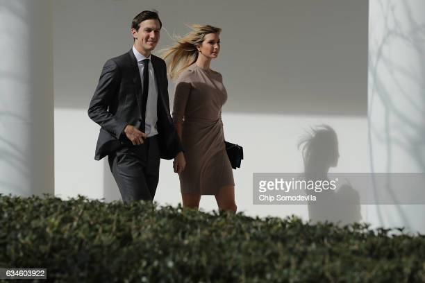 White House Senior Advisor to the President for Strategic Planning Jared Kushner and his wife and President Donald Trump's daughter Ivanka Trump walk...