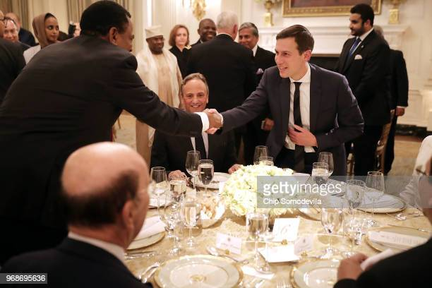 White House Senior Advisor to the President Jared Kushner greets guests before an Iftar dinner in the State Dining Room at the White House June 6...