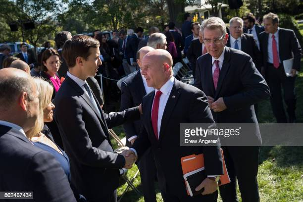 White House Senior Advisor to the President Jared Kushner shakes hands with National Security Advisor HR McMaster following a joint press conference...