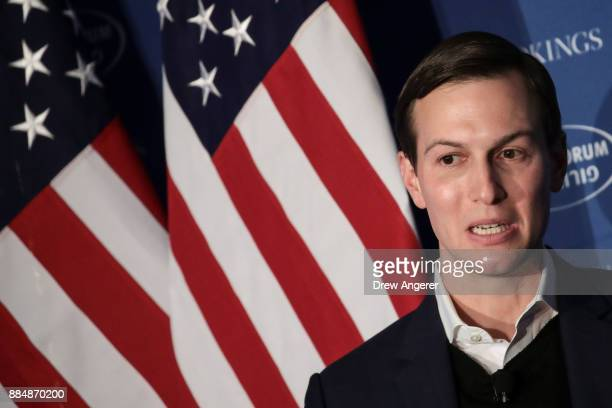 White House Senior Advisor to the President Jared Kushner speaks during a conversation with Haim Saban at Saban Forum December 3 2017 in Washington...