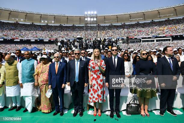White House senior advisors Ivanka Trump and Jared Kushner attend 'Namaste Trump' rally at Sardar Patel Stadium in Motera on the outskirts of...