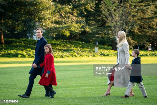 White House Senior Advisors Jared Kusher and Ivanka Trump walk with their children Arabella and Joseph on their way to Marine One on the South Lawn...