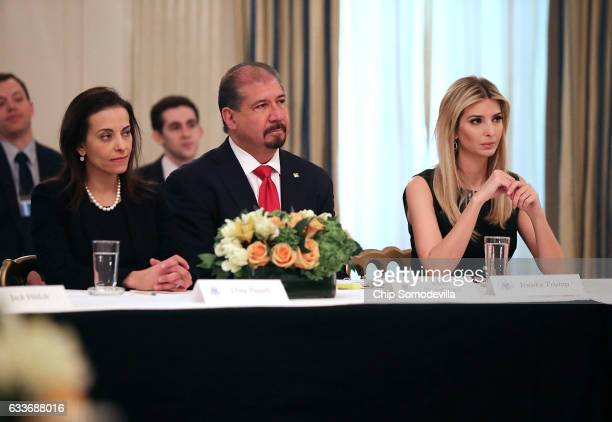 White House Senior Counselor for Economic Initiatives Dina Powell Ernst Young CEO Mark Weinberger and Ivanka Trump attend a policy forum with US...