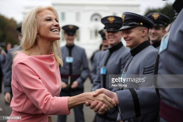 White House senior counselor Kellyanne Conway greets cadets from the West Point outside the West Wing of the White House November 7 2019 in...