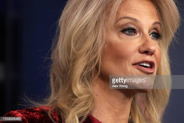 White House Senior Counselor Kellyanne Conway speaks during a news briefing at the James Brady Press Briefing Room of the White House January 30,...