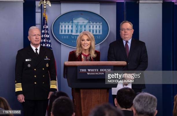 White House Senior Counselor Kellyanne Conway speaks during a briefing on the opioid crisis with Office of National Drug Control Policy Director Jim...
