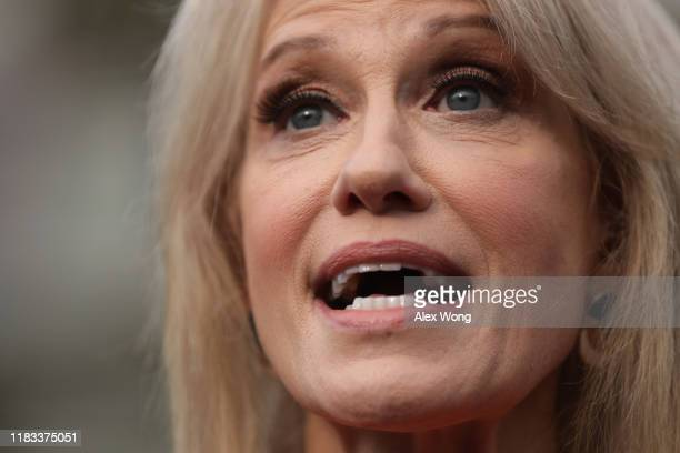 White House senior counselor Kellyanne Conway speaks to members of the media outside the West Wing of the White House October 25 2019 in Washington...