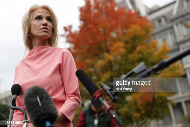 White House senior counselor Kellyanne Conway speaks to members of the media outside the West Wing of the White House November 7 2019 in Washington...
