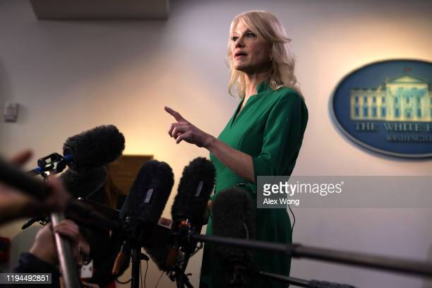 White House Senior Counselor Kellyanne Conway speaks to members of the media in the James Brady Press Briefing Room of the White House December 17,...