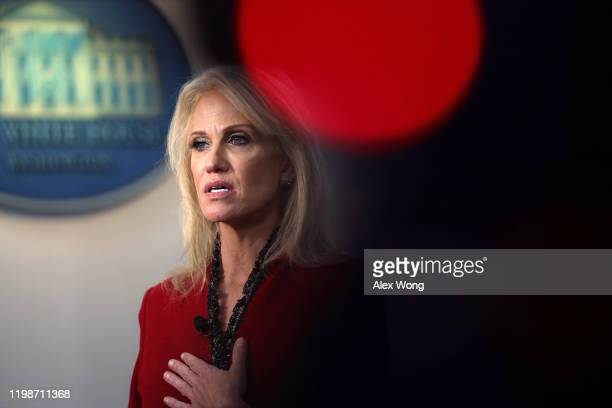 White House Senior Counselor Kellyanne Conway speaks to members of the media at the James Brady Press Briefing Room of the White House January 10,...
