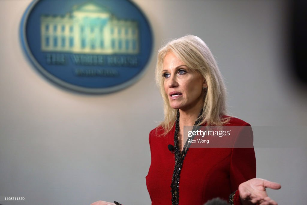 Kellyanne Conway Speaks To The Media At The White House : News Photo