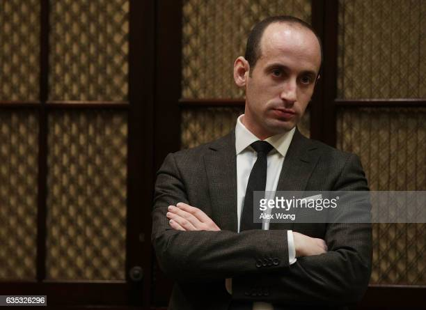 White House senior policy adviser Stephen Miller waits for the beginning of a parentteacher conference listening session at the Roosevelt Room of the...