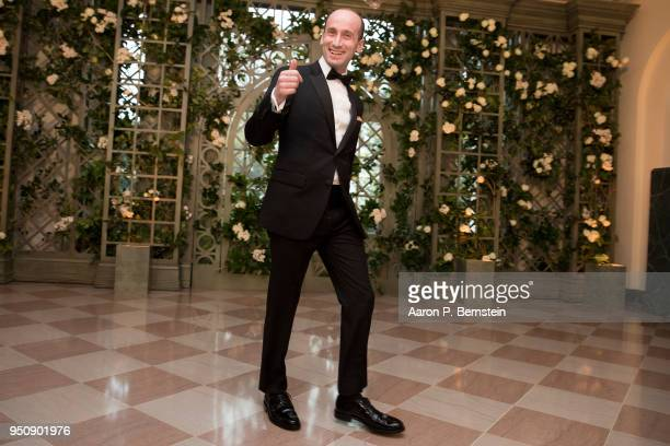White House Senior Policy Advisor Stephen Miller arrives at the White House for a state dinner April 24 2018 in Washington DC President Donald Trump...