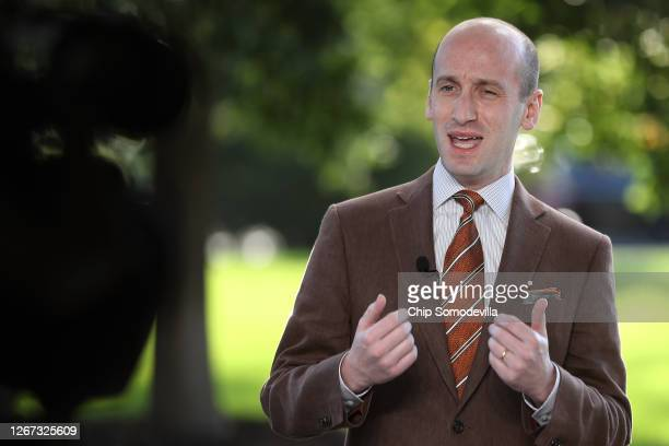 White House Senior Policy Advisor Stephen Miller is interviewed on FOX News outside the West Wing of the White House August 20, 2020 in Washington,...