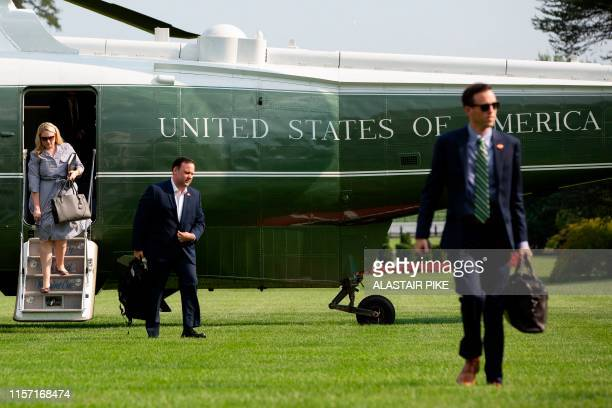 White House Social Media Director Dan Scavino returns to the White House in Washington DC on July 21 2019 Trump is returning to Washington after...