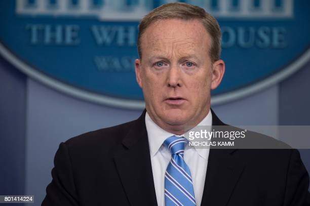 White House spokesman Sean Spicer speaks during the daily press briefing at the White House in Washington DC on June 26 2017 / AFP PHOTO / NICHOLAS...