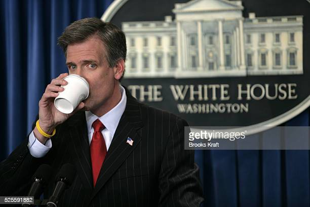 White House spokesman Tony Snow conducts his first press briefing in the Brady Press Briefing Room of the White House in Washington DC.