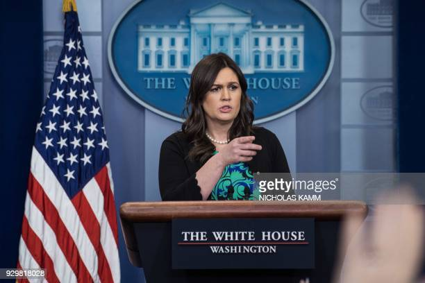White House spokesperson Sarah Huckabee Sanders speaks at the press briefing at the White House in Washington DC on March 9 2018 / AFP PHOTO /...