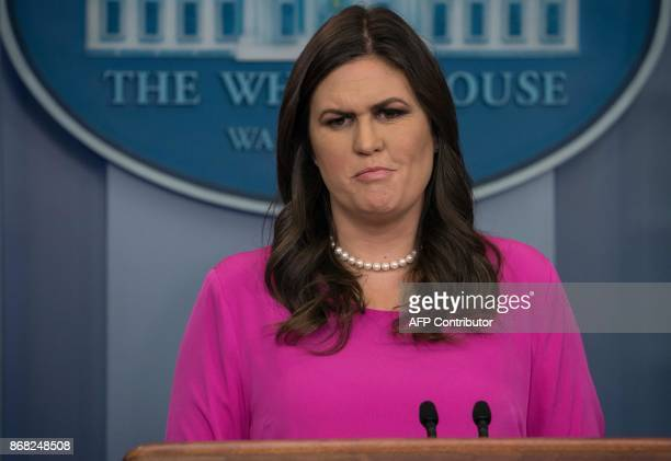 White House spokesperson Sarah Huckabee Sanders speaks during the press briefing at the White House in Washington DC on Octobr 30 2017 US President...