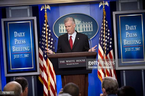 White House spokesperson Tony Snow speaks during a daily briefing at the White House July 27, 2007 in Washington, DC. Snow spoke and answered...