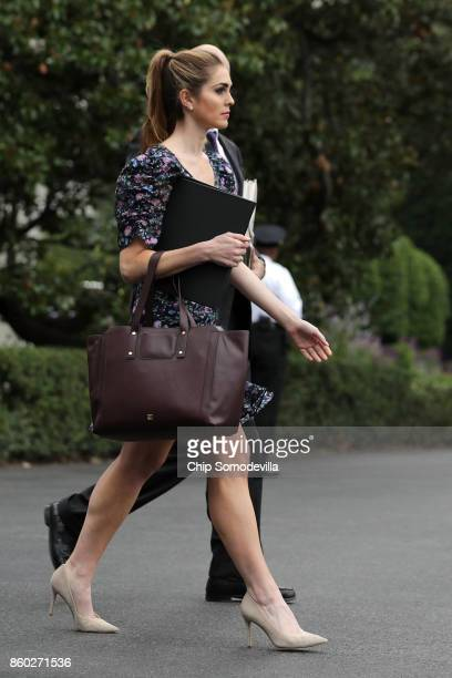 White House Strategic Communications Director Hope Hicks leaves the White House October 11 2017 in Washington DC Hicks is accompanying President...