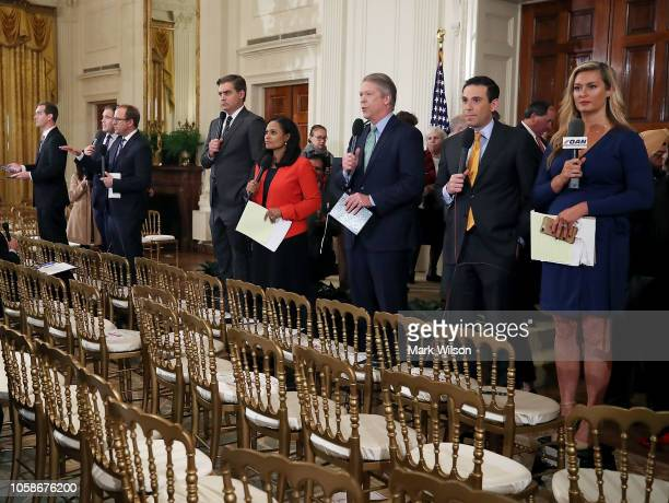 White House television correspondents report after US President Donald Trump gave a press conference a day after the midterm elections on November 7...