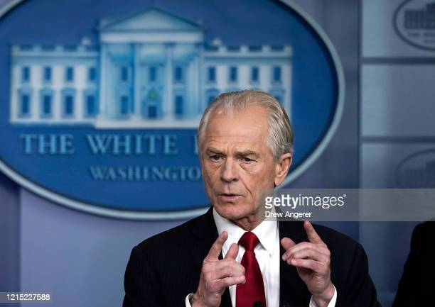 White House Trade and Manufacturing Policy Director Peter Navarro speaks during a briefing on the coronavirus pandemic in the press briefing room of...