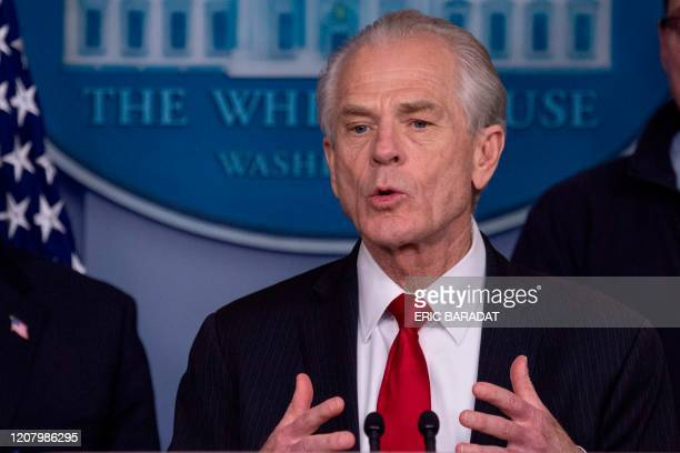 White House Trade and Manufacturing Policy Director Peter Navarro speaks during the daily briefing on the novel coronavirus COVID19 at the White...