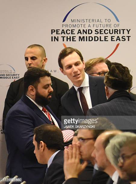 White House US Senior Advisor Jared Kushner and participants arrive for a session at the conference on Peace and Security in the Middle east in...