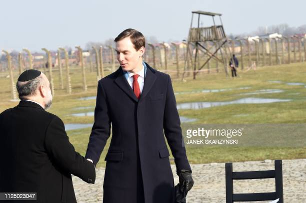 White House US Senior Advisor Jared Kushner is greeted during a visit the former German Nazi death camp AuschwitzBirkenau on February 15 2019 in...