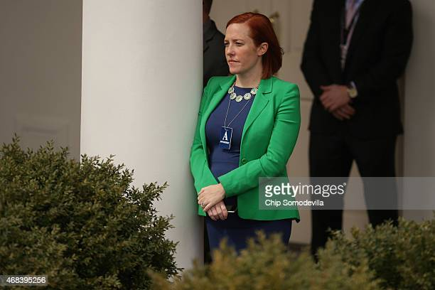 White House White House Communications Director Jen Psaki listens to U.S. President Barack Obama deliver remarks about the agreement reached with...