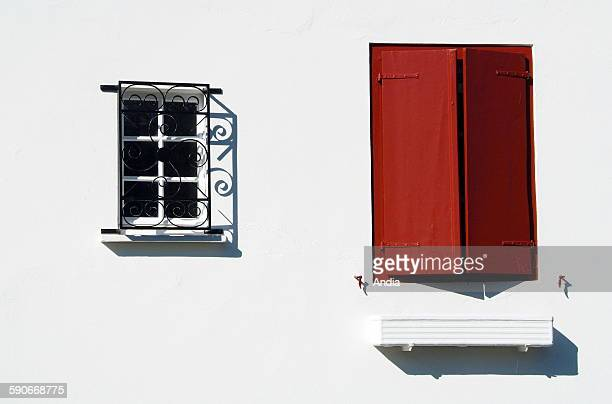 White house with red shutters in Espelette in the Basque Country