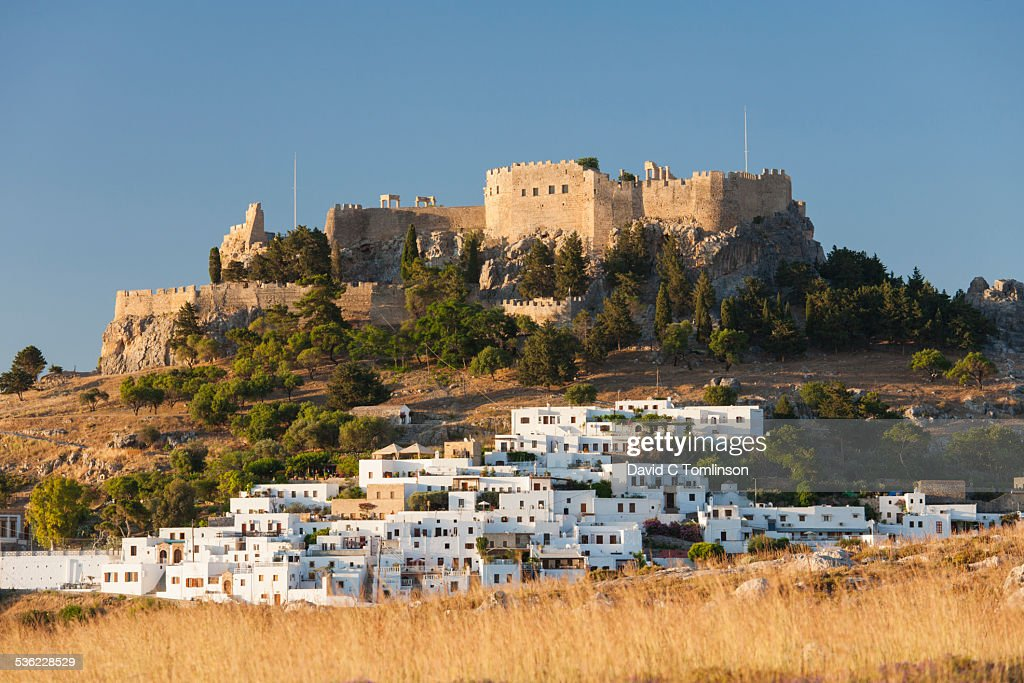 White houses below the acropolis, Lindos, Rhodes : Stock Photo